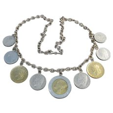 Milor Vintage Italian Sterling Silver Lire Coin Necklace