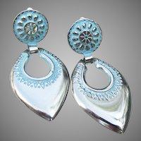 Big 1980's Doorknocker Silver Tone & Blue Enamel Clip Earrings