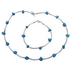 Sterling Silver & Turquoise Vintage 1980's Nugget Choker Necklace & Bracelet Set