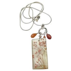 Sterling Silver Real Dried Flowers Pendant & Carnelian Bead Vintage Necklace
