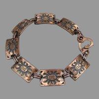 Southwestern SUN FACE Vintage Tribal COPPER Link Bracelet