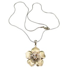 Pretty Sterling Silver & Vermeil Single ROSE Flower Vintage Pendant Necklace