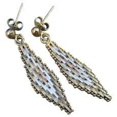 Tri-Color Sterling Vermeil 1970's Vintage Mesh Dangle Earrings