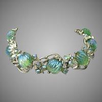 Signed ART Vintage 1960's Molded AB Rhinestone Bracelet, BEAUTY!
