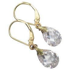 14k Yellow Gold Dangle Tear Drop CZ Pierced Lever Back Earrings