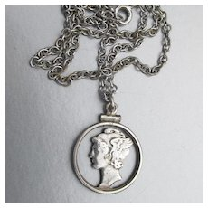 1940's Mercury Dime Sterling Silver Vintage Unisex COIN Necklace