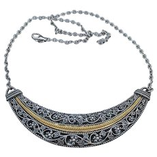 Or Paz Sterling Silver & Gold Floral Lace Vintage Necklace