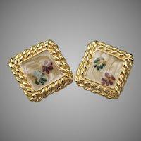 Pretty 1980s Vintage Square Faux Dried Flower Enamel Clip Earrings