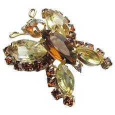 Petite 1960's Vintage Amber Rhinestone BUTTERFLY Pin