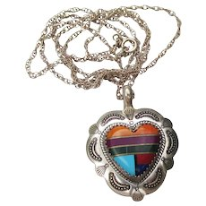 Signed Q. T. Quoc Vintage Native American Sterling Silver Turquoise Heart Necklace