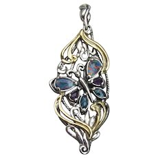 Carolyn Pollack Relios Sterling Silver Opal, Amethyst London Blue Topaz BUTTERFLY Pendant Enhancer