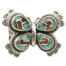 Designer Signed Carolyn Pollack RELIOS Sterling Silver Turquoise & Coral BUTTERFLY Ring, Size 7.5