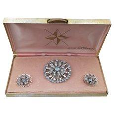 """Vintage """"Jewels By Juliet"""" Blue Rhinestone Rhodium Pin & Earrings Set, Mint In Box!"""