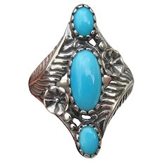 Signed Carolyn Pollack Long Sleeping Beauty Turquoise Ring, Size 9