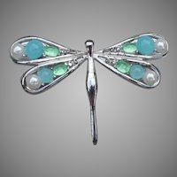 Pretty Aqua Glass & Faux Pearl DRAGONFLY Pin