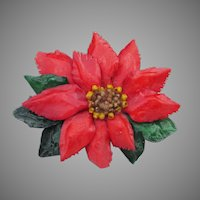 Vintage Christmas Pin, Large 1950's Celluloid Poinsettia Brooch