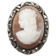 1920's Vintage Sterling Silver & Marcasite Carved Shell Cameo Pendant or Pin
