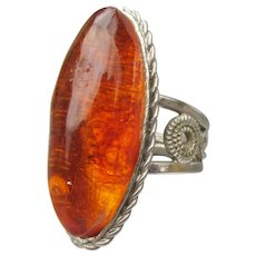 HUGE 1960's Vintage 800 Silver Baltic Amber Ring, Size 7