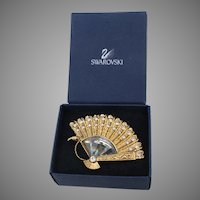 Swarovski Crystal Vintage Gold Tone Fan Pin, MIB!