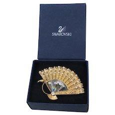 Swarovski Crystal Vintage Gold Tone Fan Pin, MIB!