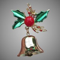 Vintage Christmas Pin, Enamel Holly & Real BELL