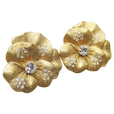 Signed CRAFT by Gene Verrecchio Vintage Pansy Rhinestone Earrings