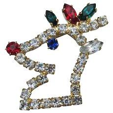 Vintage Christmas Pin, Rhinestone Rudolph the REINDEER Head