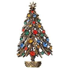 Signed ART Vintage Christmas Tree Rhinestone Pin