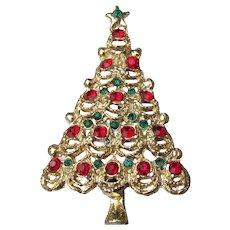 Vintage Christmas Tree Pin, Large Red & Green Rhinestones