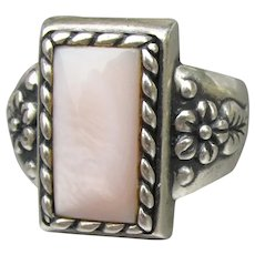 Carolyn Pollack Relios Pink Mother-of-Pearl Sterling Silver Flower Ring, Size 9
