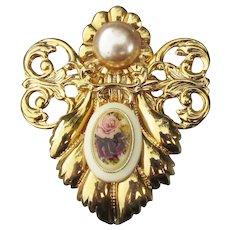 Jane Davis ROSE Angel Brooch AOL Angels of Love Pin, Vintage Signed 1999