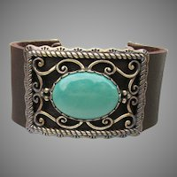 MIB American West Carolyn Pollack Leather Turquoise Bracelet, Size Small