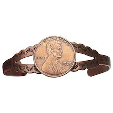 Native American Navajo 1970's Vintage Copper PENNY Cuff Bracelet, Size Small