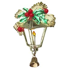 Vintage Christmas Pin, Enamel Lantern, Holly with Bell