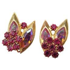 Signed Vendome Mid-Century Modern Aurora Borealis Clip Earrings