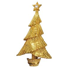 Vintage Christmas Tree Pin Signed MAMSELLE