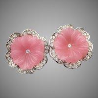 "Kenneth Jay Lane Signed KJL Avon 1990's ""Perfect Pansy"" Vintage Pink Flower Rhinestone Clip Earrings"