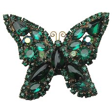 Signed WEISS Darkest Emerald Green Rhinestone Vintage Butterfly Pin