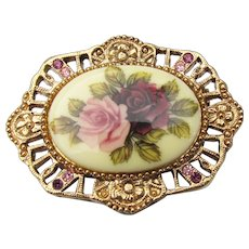 1928 Jewelry Co. Victorian Revival Pink ROSE Vintage Pin