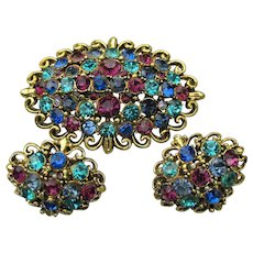 Signed HOLLYCRAFT Vintage Multi-Color Rhinestone Pin & Earrings Set