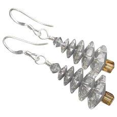 Christmas Earrings, Hand Made Artisan Sterling Silver Aurora Borealis Swarovski Crystal Tree Dangles