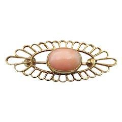 Pretty & Petite 14k Gold Vintage Angel Skin CORAL Pin