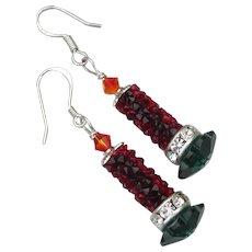 Hand Made Artisan Christmas CANDLE Earrings, Sterling Silver & Swarovski Crystal Dangles