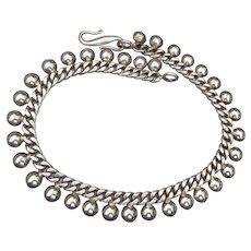 """Suarti Bali Vintage Sterling Silver Half Ball Bead Ankle Bracelet Anklet 10"""""""