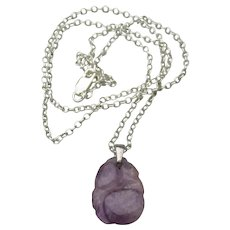 Sterling Silver & Carved AMETHYST Vintage Pendant Necklace