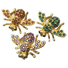 Swarm O' 3 Vintage Joan RIVERS Rhinestone Bee Pins