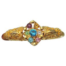 Pretty 1990's Vintage Etruscan Revival Hinged Multi Color Rhinestone Cuff Bracelet