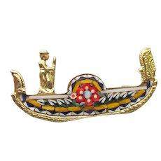 Vintage Micro Mosaic Venice Italy GONDOLA Souvenir Pin