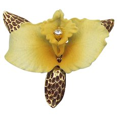 RARE Joan RIVERS Signed 1990's Vintage Yellow ORCHID Flower Pin