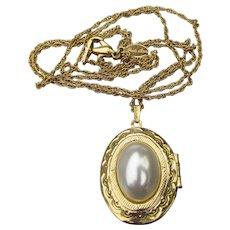 Signed Park Lane Vintage Victorian Revival Long Faux Pearl LOCKET Necklace